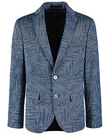 Lauren Ralph Lauren Big Boys Denim Blue Palm-Print Sport Coat