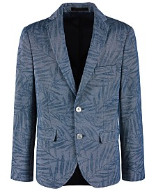 Lauren Ralph Lauren Big Boys Denim Blue Palm-Print Sport Coat
