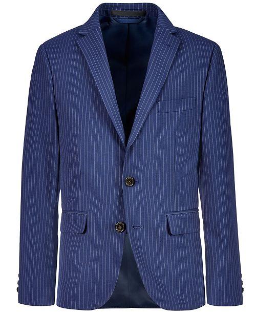 Lauren Ralph Lauren Big Boys Stretch Navy Stripe Suit Jacket
