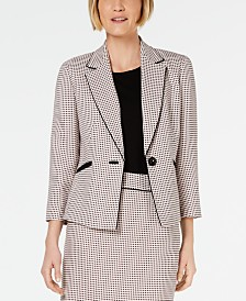 Kasper Petite Jacquard One-Button Blazer