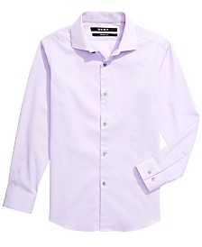 DKNY Big Boys Skinny-Fit Lilac Tonal Diamond Dress Shirt