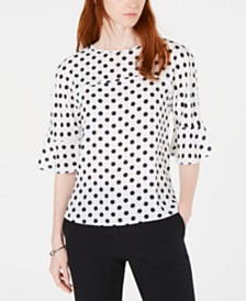 Bar III Polka Dot Ruffle-Sleeve Top, Created for Macy's