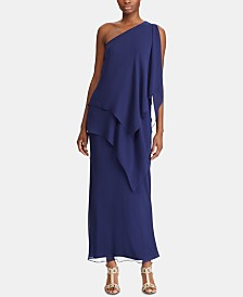 Lauren Ralph Lauren Chiffon One-Shoulder Gown