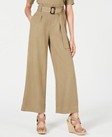 J.O.A. Belted Wide-Leg Pants