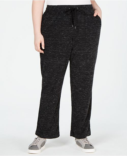 Ideology Plus Size Space-Dyed Wide-Leg Pants, Created for Macy's