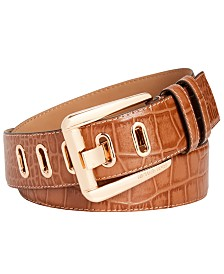 Michael Kors Heritage Buckle Croc-Embossed Leather Belt