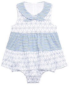 Baby Girls Cotton Nautical Skirted Romper, Created for Macy's