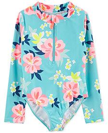 Carter's Little & Big Girls 1-Pc. Floral-Print Rash Guard Swimsuit