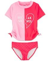 da9500f509955 Carter's Little & Big Girls 2-Pc. Break Wave Rash Guard Swimsuit