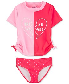 Carter's Little & Big Girls 2-Pc. Break Wave Rash Guard Swimsuit