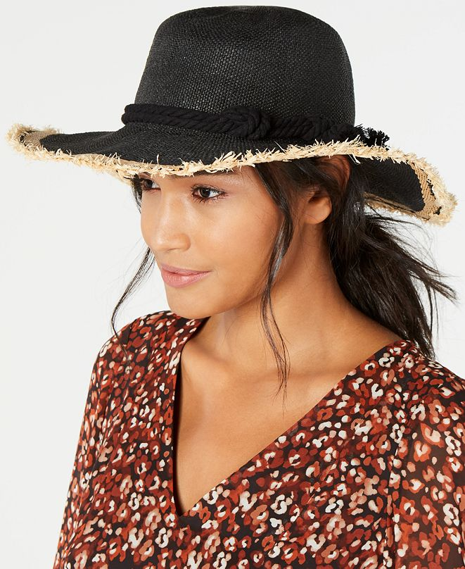 INC International Concepts INC Twisted Straw & Rope Detail Floppy Hat, Created for Macy's