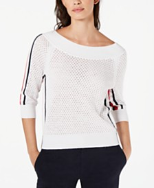 Tommy Hilfiger Cotton Mesh Boat-Neck Sweater, Created for Macy's