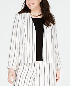 Bar III Plus Size Striped Collarless Jacket, Created for Macy's