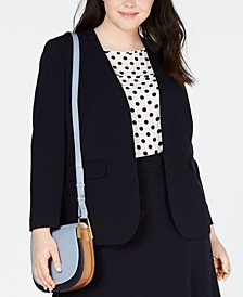 Trendy Plus Size Collarless Open-Front Blazer, Created for Macy's