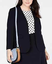 Bar III Trendy Plus Size Collarless Open-Front Blazer, Created for Macy's