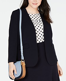 Bar III Plus Size Collarless Open-Front Blazer, Created for Macy's