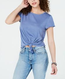 Crave Fame Juniors' Tie-Front Textured T-Shirt