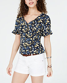 Hooked Up By IOT Juniors' Printed Peplum Blouse