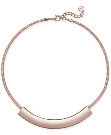 """Alfani Rose Gold-Tone Curved Bar Collar Necklace, 17"""" + 2"""" extender, Created for Macy's"""