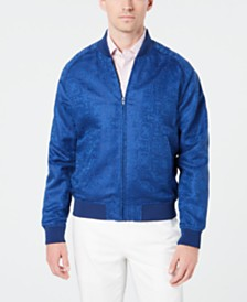 Tallia Men's Slim-Fit Linen Jacquard Bomber Jacket