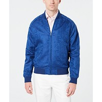 Tallia Mens Slim-Fit Linen Jacquard Bomber Jacket Deals