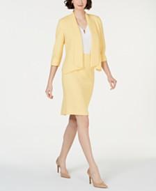 Kasper Flyaway Jacket, Embellished V-Neck Top & Crepe Skirt