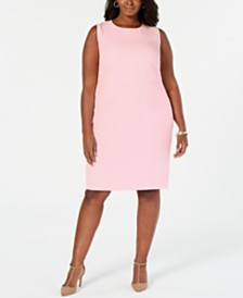 Kasper Plus Size Stretch Crepe Sheath Dress