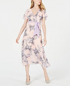 Short-Sleeve Appliqué Floral Midi Dress
