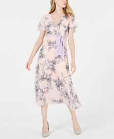 foxiedox Short-Sleeve Appliqué Floral Midi Dress