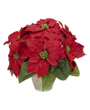 Nearly Natural Poinsettia w/Ceramic Vase Silk Flower Arrangement