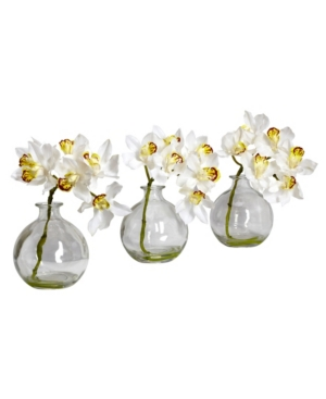 Nearly Natural Cymbidium w/Vase Silk Flower Arrangement, Set of 3