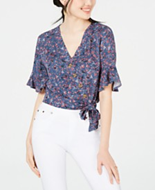 Gypsies & Moondust Juniors' Printed Wrap Blouse
