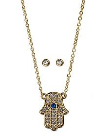 Gold-Tone Crystal Hamsa Hand Pendant Necklace & Stud Earrings Box Set
