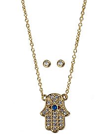 Kitsch Gold-Tone Crystal Hamsa Hand Pendant Necklace & Stud Earrings Box Set