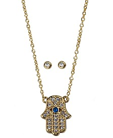 Kitsch Gold-Tone Crystal Hamsa Hand Pendant Necklace & Stud Earrings Box Set