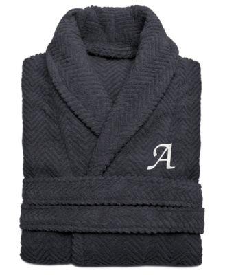 100% Turkish Cotton Personalized Unisex Herringbone Bath Robe - Dark Gray