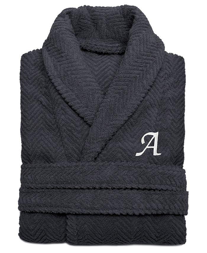 Linum Home - 100% Turkish Cotton Personalized Unisex Herringbone Bath Robe - Dark Gray