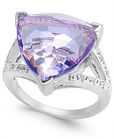 Pink Amethyst (6 ct. t.w.) & Diamond (1/10 ct. t.w.) Statement Ring in Sterling Silver