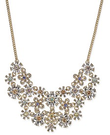 "I.N.C. Gold-Tone Crystal Flower Statement Necklace, 18"" + 3"" extender, Created for Macy's"