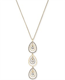 "I.N.C. Gold-Tone Crystal Tear-Shape Orbital Pendant Necklace, 31"" + 3"" extender, Created for Macy's"