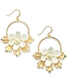 I.N.C. Gold-Tone & Imitation Pearl Flower Drop Hoop Earrings, Created for Macy's