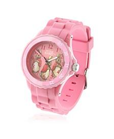 Children's Three Bunnies Time Teacher Light Pink Silicone Strap Watch