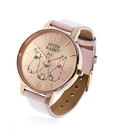 Ladies Three Bunnies Gold Steel Case and Rose Leather Watch