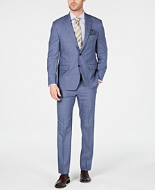 Men's Classic-Fit UltraFlex Stretch Light Blue Glen Plaid Suit Separates