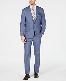 Men's Classic-Fit UltraFlex Stretch Light Blue Glen Plaid Suit Separates