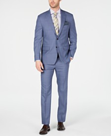 Lauren Ralph Lauren Men's Classic-Fit UltraFlex Stretch Light Blue Glen Plaid Suit Separates