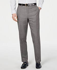 Men's Classic-Fit Airsoft Stretch Blue/Gray Mini-Grid Suit Pants