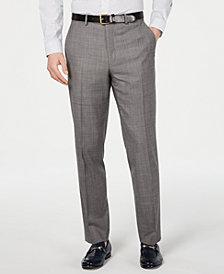 Michael Kors Men's Classic-Fit Airsoft Stretch Blue/Gray Mini-Grid Suit Pants