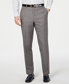 Michael Kors Men's Classic-Fit Airsoft Stretch Blue/Gray Mini-Grid Suit Pants