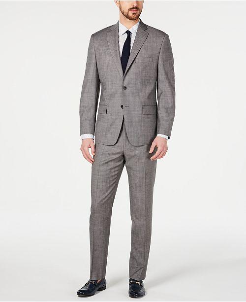 196fa1ddda573 ... Michael Kors Men s Classic-Fit Airsoft Stretch Blue Gray Mini-Grid Suit  Separates ...